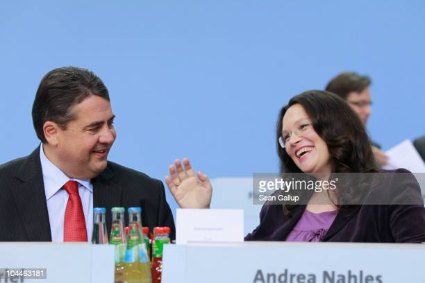 Sigmar Gabriel Chairman of the German Social Democrats and party General Secretary Andrea Nahles attend the party's extraordinary party convention on...
