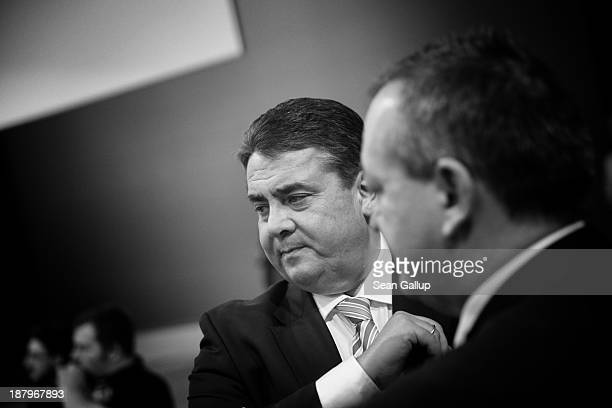 Sigmar Gabriel, Chairman of the German Social Democrats arrives for the SPD federal party convention on November 14, 2013 in Leipzig, Germany. The...