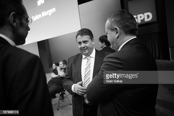 Sigmar Gabriel , Chairman of the German Social Democrats , arrives for the SPD federal party convention on November 14, 2013 in Leipzig, Germany. The...