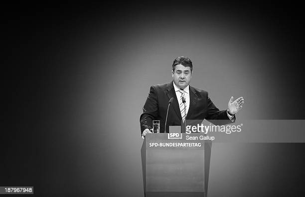 Sigmar Gabriel, Chairman of the German Social Democrats speaks at the SPD federal party convention on November 14, 2013 in Leipzig, Germany. The SPD...