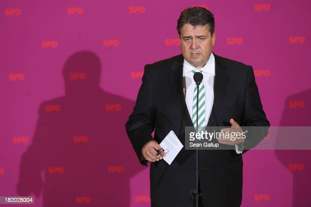 Sigmar Gabriel, Chairman of the German Social Democrats , speaks to the media at SPD headquarters during a break in a conference of 200 leading SPD...