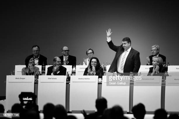 Sigmar Gabriel, Chairman of the German Social Democrats , waves to delegates shortly after he spoke at the SPD federal party convention on November...