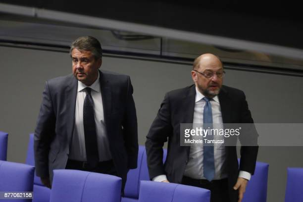 Sigmar Gabriel Germany's foreign minister speaks with Martin Schulz leader of the Social Democrats Party or during the first session of the Bundestag...