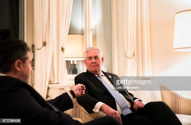Sigmar Gabriel SPD Vice Chancellor and Federal Foreign Minister meets the Foreign Minister of the United States of America Rex Wayne Tillerson at...