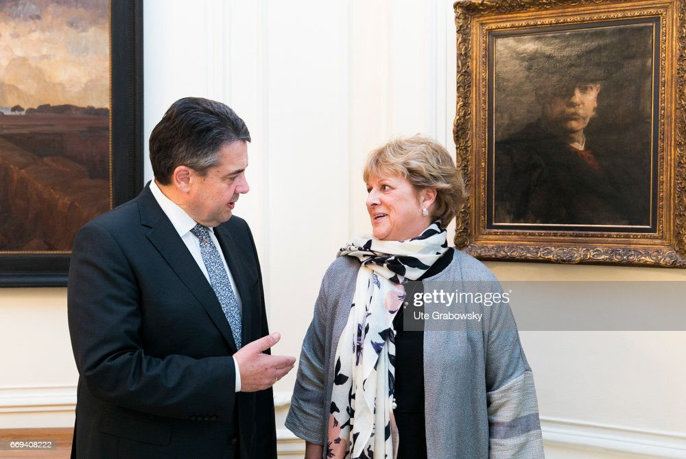 Sigmar Gabriel, SPD, Vice Chancellor and Federal Foreign Minister of Germany, meets his former English exchange student in London... : News Photo