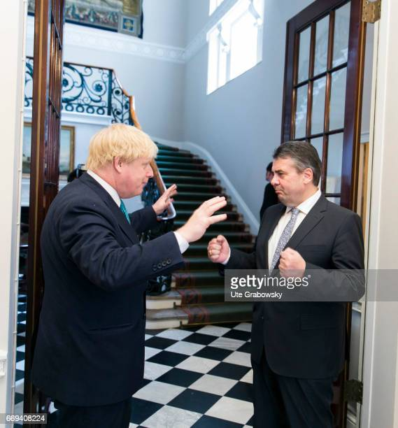 Sigmar Gabriel SPD Vice Chancellor and Federal Foreign Minister of Germany meets Boris Johnson Foreign Minister of the United Kingdom of Great...