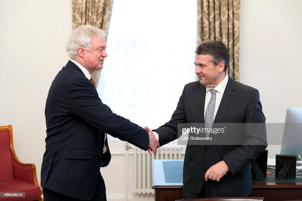 Sigmar Gabriel, SPD, Vice Chancellor and Federal Foreign Minister of Germany, meets David Davis, Minister for the resignation from the European Union of the United Kingdom of Great Britain and Northern Ireland... : News Photo