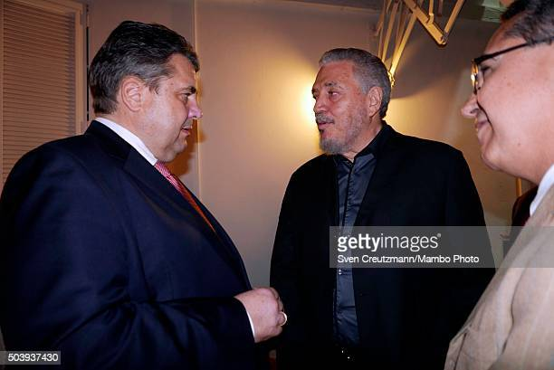 Sigmar Gabriel Vice Chancellor and the Minister of Economy of Germany meets with Fidel Castro Diaz Balart son of Cuban Revolution leader Fidel Castro...