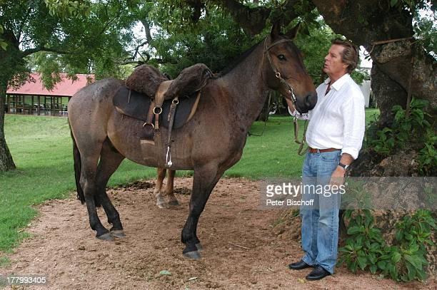 Sigmar Solbach Pferd neben den Dreharbeiten zum ARDFilm Am Kap der Liebe Unter der Sonne Uruguays alter Titel Das Lied der Delfine Estancia San Pedro...