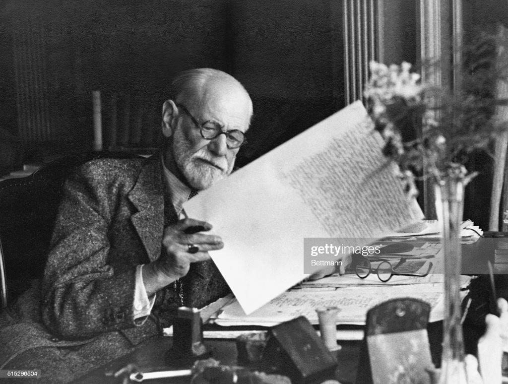 Sigmund Freud In Home Office At Desk : News Photo