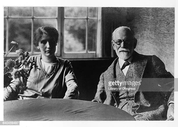 Sigmund Freud and Daughter Anna Sitting at Table