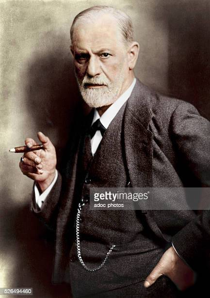 Sigmund Freud Austrian neurologist and psychiatrist who founded the psychoanalytic school of psychology In 1921 Coloured photograph
