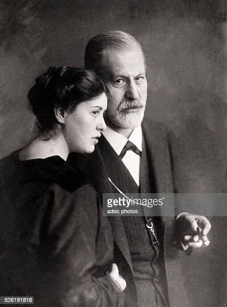 Sigmund Freud Austrian neurologist who founded the discipline of psychoanalysis with his daughter Sophie Ca 1910