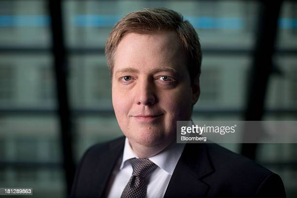 Sigmundur Gunnlaugsson Iceland's prime minister poses for a photograph ahead of a Bloomberg Television interview in London UK on Friday Sept 20 2013...