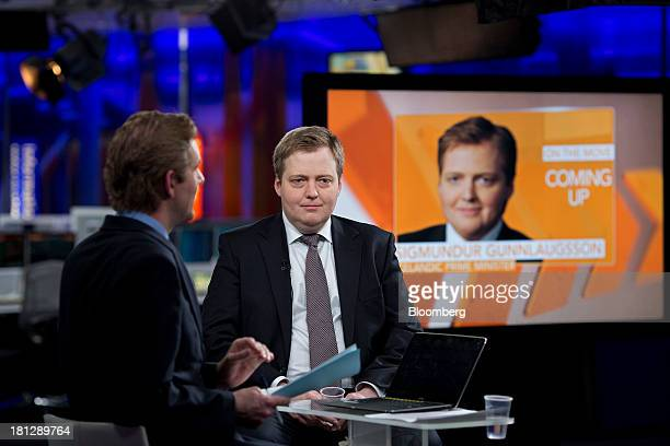 Sigmundur Gunnlaugsson Iceland's prime minister right pauses during a Bloomberg Television interview in London UK on Friday Sept 20 2013 Iceland's...