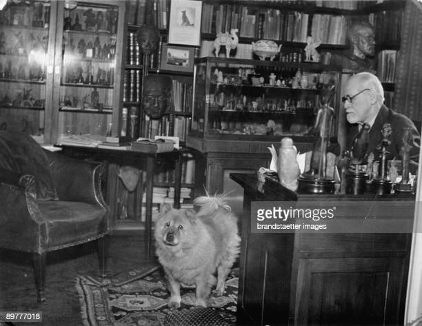 Sigmung Freud Austrian psychoanalyst in his bureau in the Berggasse 19 Austria Photograph Around 1935