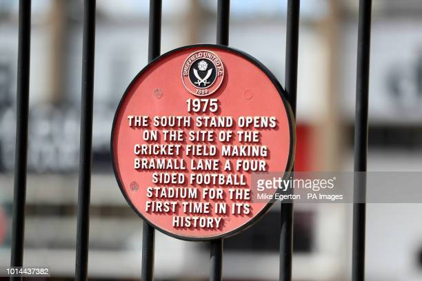 A sign about the South Stand at Bramall Lane