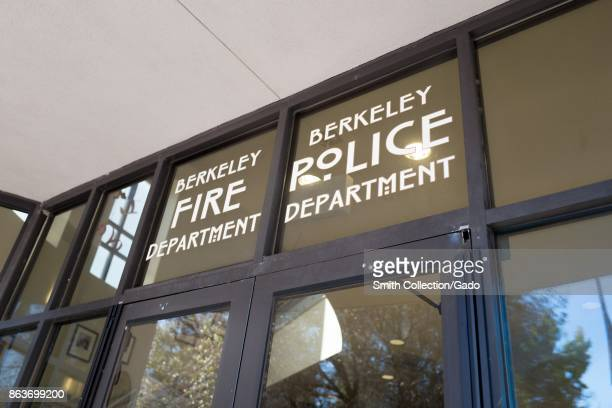 Sign above door on facade of the police station and fire station for the Berkeley Police and Berkeley Fire Department at Martin Luther King Jr Civic...