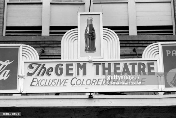 "Sign Above Moving Picture Theater, ""Exclusive Colored Theatre"", Waco, Texas, USA, Russell Lee, Farm Security Administration, November 1939."