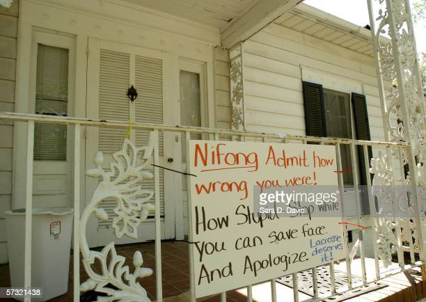 A sign addressing District Attorney Mike Nifong shows support for Duke University lacrosse team members on 610 N Buchanan Boulevard in Durham North...