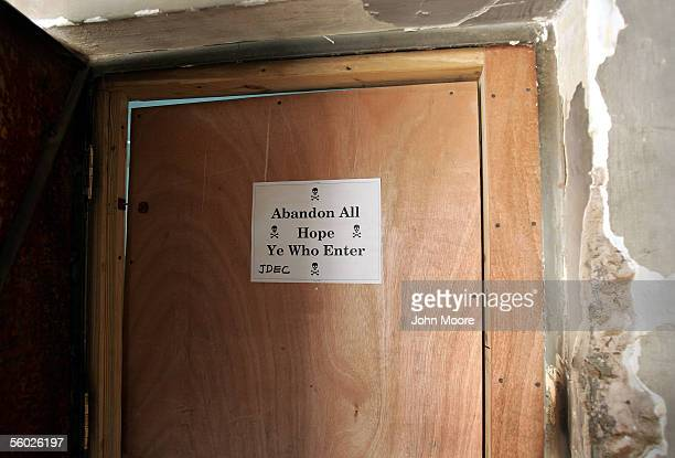 Sign adorns the door of a room housing intelligence officers, according to U.S. Military police, at the Abu Ghraib Prison October 28, 2005 on the...