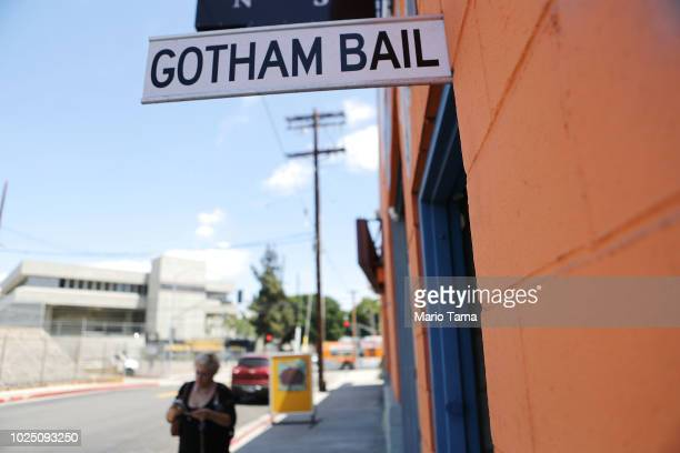 Sign advertises a bail bond company located near two jails on August 29, 2018 in Los Angeles, California. California Governor Jerry Brown signed a...