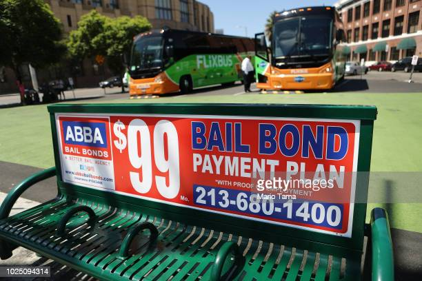 Sign advertises a bail bond company on August 29, 2018 in Los Angeles, California. California Governor Jerry Brown signed a bill yesterday which will...