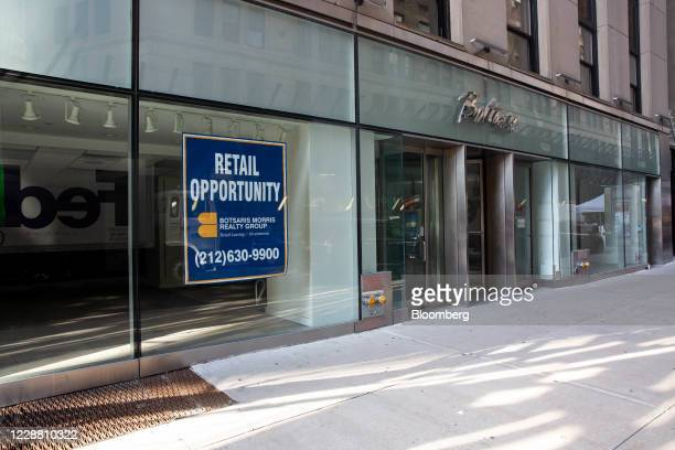 Sign advertises retail space for rent on Broad Street near the New York Stock Exchange in New York, U.S., on Wednesday, Sept. 30, 2020. Shares...
