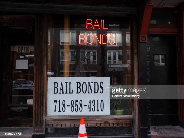 Sign advertises services for bail bonds along Atlantic Avenue near the Brooklyn Detention Complex in Brooklyn, New York, December 21, 2019. A state...