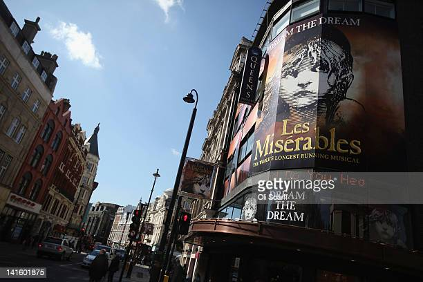 Sign advertising a musical 'Les Miserables' on Shaftesbury Avenue in the West End on March 19, 2012 in London, England. London's West End is...