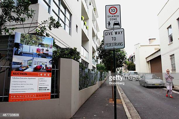A sign advertising a property auction hangs outside a residential building on Chalmers Street in the inner city suburb of Redfern in Sydney Australia...