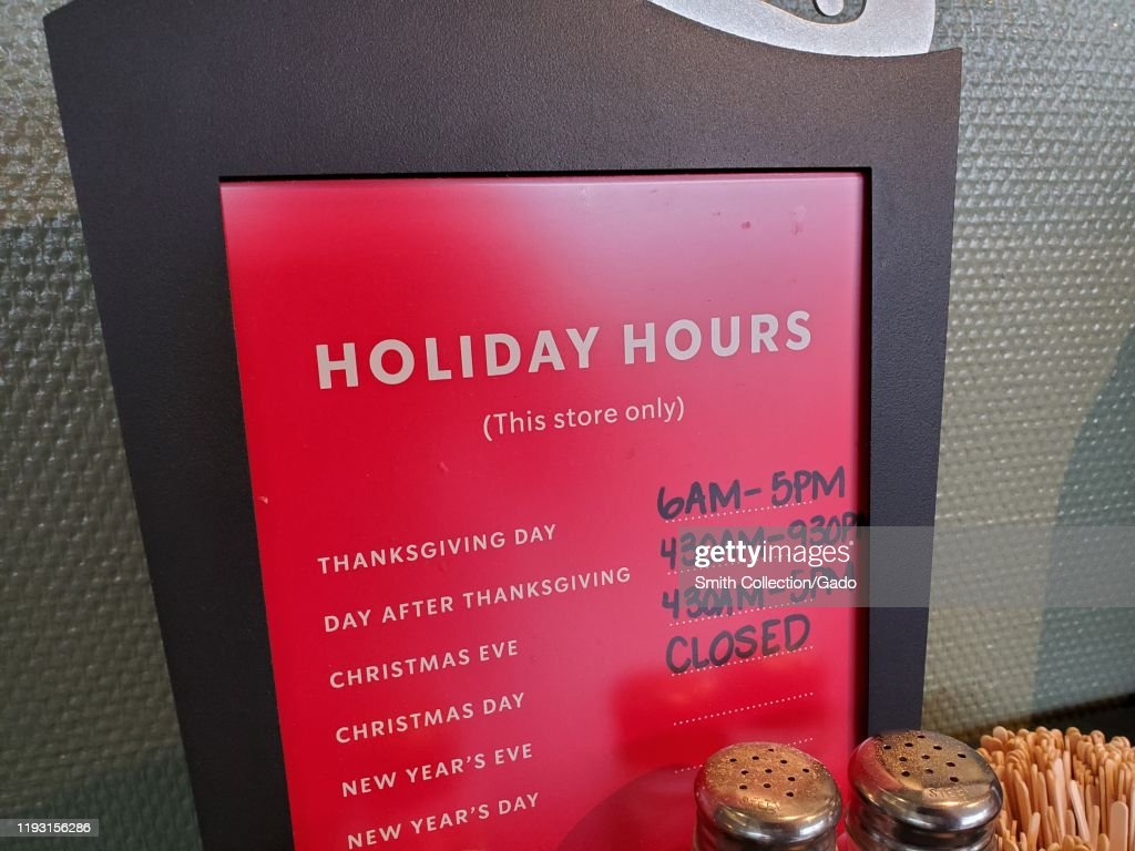 Sign Advertising Holiday Hours At Starbucks Coffee Cafe In San Ramon News Photo Getty Images