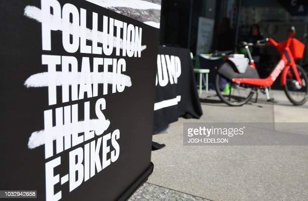 A sign advertising Jump bikes is seen in downtown San Francisco California during the Global Climate Action Summit on September 13 2018