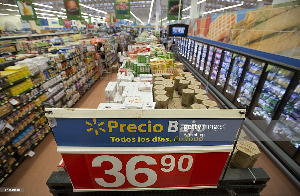 A sign advertising low prices is displayed in the grocery section of a Wal-Mart Stores Inc. location in Mexico City, Mexico, on Thursday, June 20, 2013. Mexican retail sales rose 2.5 percent in April from the same month last year, the country's statistics agency, known as Inegi, reported on its website. Photographer: Susana Gonzalez/Bloomberg via Getty Images
