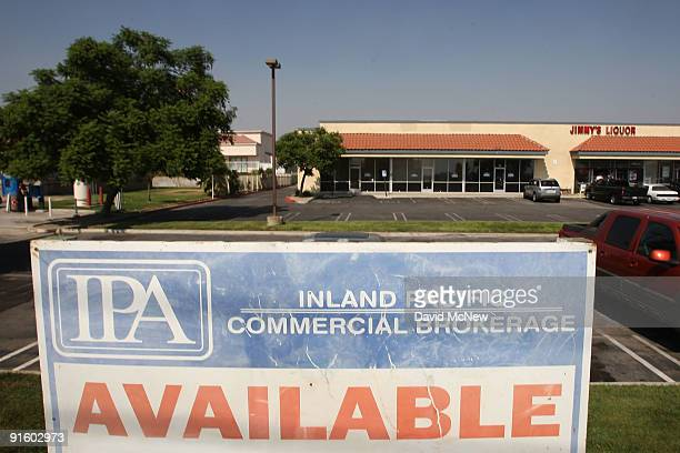 Sign advertising several retail spaces for lease in a shopping mall becomes faded on October 8, 2009 in Fontana, California. Third quarter reports...