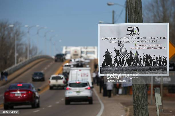 A sign advertising the 50th anniversary of Selma to Montgomery civil rights march on March 6 2015 in Selma Alabama Selma is preparing to commemorate...