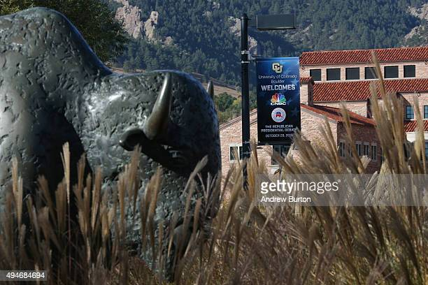 A sign advertising the CNBC Republican presidential debate at the University of Colorado is seen on campus on October 28 2015 in Boulder Colorado The...