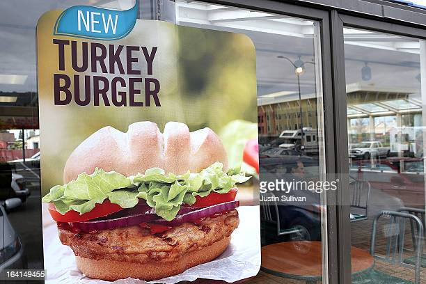 A sign advertising the new Burger King turkey burger is displayed at a Burger King restaurant on March 20 2013 in Oakland California Burger King...