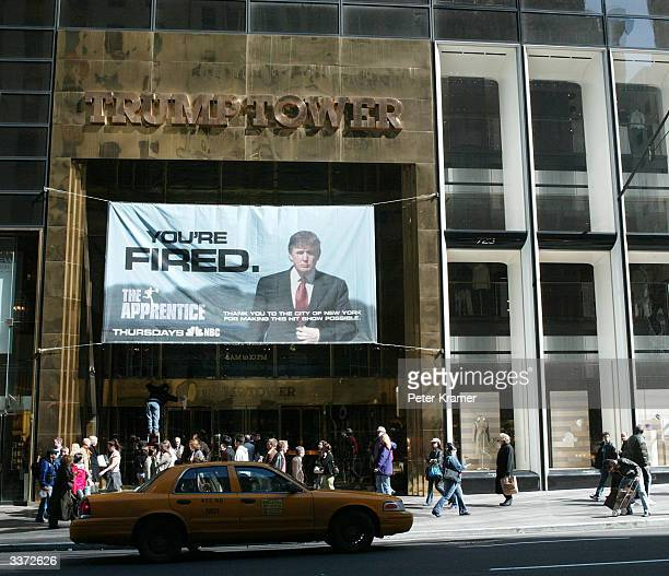 A sign advertising the television show The Apprentice hangs at Trump Towers April 15 2004 in New York City