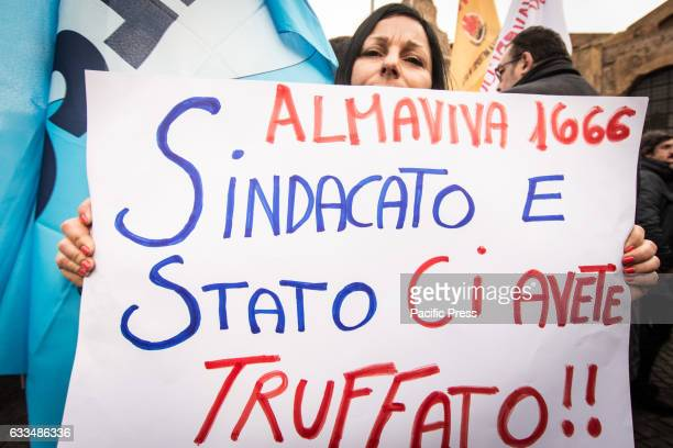 A sign against Almaviva layoffs The national secretariats of SLC CGIL Fistel CISL and UIL national Ulicom called the strike for the whole day Workers...
