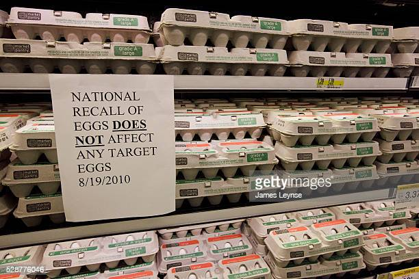 A sign alerts customers that the eggs at a Target store in Edgewater New Jersey are not part of the national recall of salmonella tainted eggs Target...