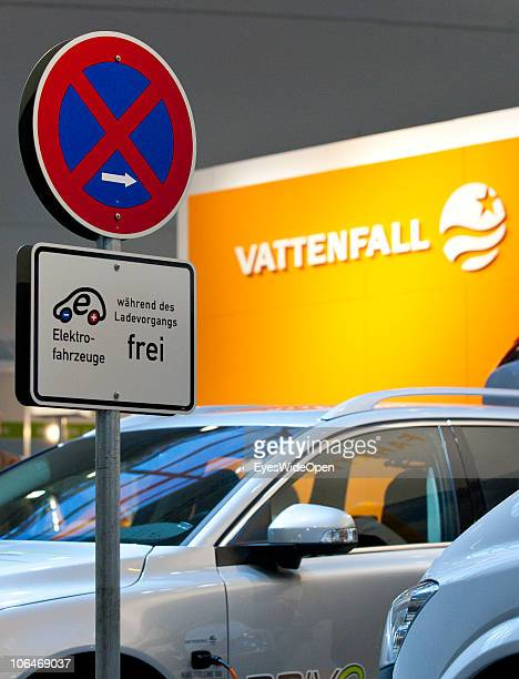 A sign allows parking only while charging an elecric car at a quick charge station of VATTENFALL a energy supplier on the eCarTec 2010 the 2nd...