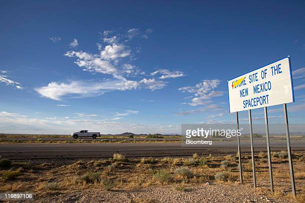 Sign along Interstate announces the site of Spaceport America several miles from the facility in Sierra County, New Mexico, U.S., on Thursday, July...