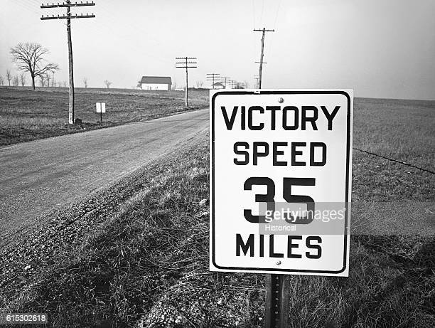 A sign along the roadway between Lititz and Manheim Pennsylvania November 1942