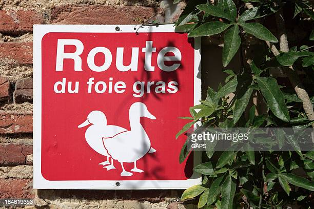 sign along the 'route du foie gras' in france - foie gras stock photos and pictures