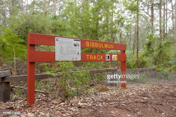 sign alongside the world-renowned bibbulman track near pemberton, in the south-west of western austraila - by sheldon levis stock pictures, royalty-free photos & images