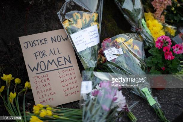 Sign amongst flowers outside Cardiff Central Police Station on March 17, 2021 in Cardiff, Wales. Legislation giving police greater power to crack...