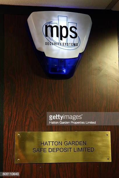 Sign and alarm in the basement corridor between an exit and the underground vault of the Hatton Garden Safe Deposit Company which was raided in what...