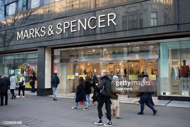 Sign and exterior of department store and supermarket chain Marks and Spencer on 10th January 2020 in London England United Kingdom Marks Spencer...