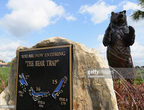 A sign and statue of a bear to mark the three holes known as the bear trap prior to the start of the Honda Classic at PGA National Resort and Spa on...